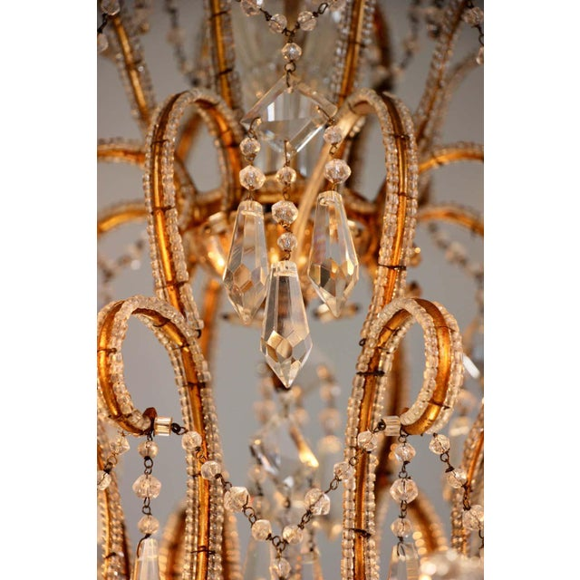 1940s Italian Crystal Beaded Chandelier For Sale - Image 4 of 9