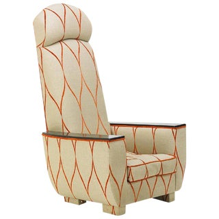 Decorative Modern Tall Back Armchair For Sale