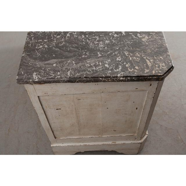 Marble French 19th Century Painted Commode With Marble Top For Sale - Image 7 of 12