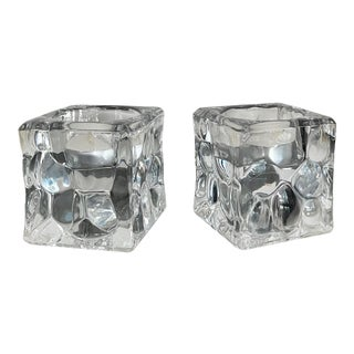 Vintage Glass Block Double Duty Candle Holders- a Pair For Sale
