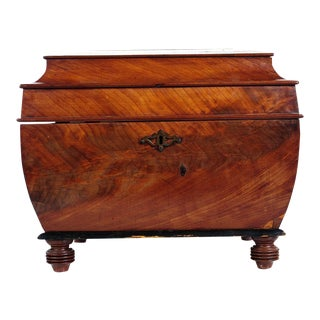 Antique English Burled Mahogany Wine Cooler