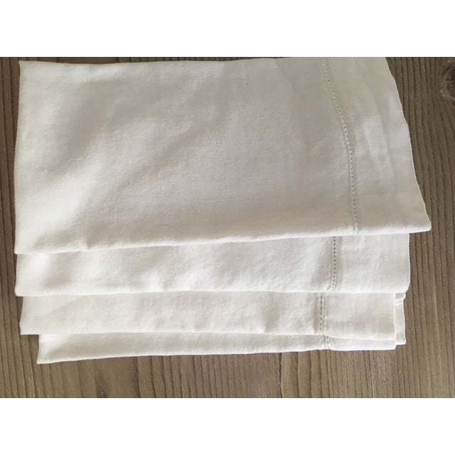 Pure white Belgian Linen Napkins with hemstitched edge. Set of 4