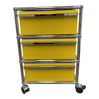 USM Yellow Three Drawer Mobile Cabinet For Sale