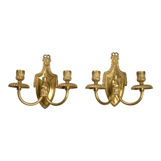1920s Caldwell Neoclassical Style Brass Sconces - a Pair For Sale