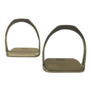Pair of Brass Hermes Style Horse Saddle Stirrups Bookends For Sale