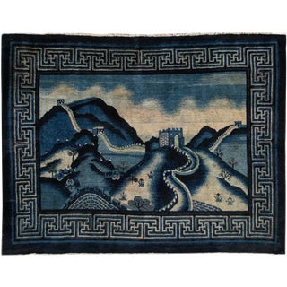 Early 20th Century Antique Art Deco Chinese Square Wool Rug 6 X 7 the Great Wall For Sale