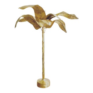 Vintage Monumental Brass Mid-Century Palm / Banana Tree Floor Lamp For Sale