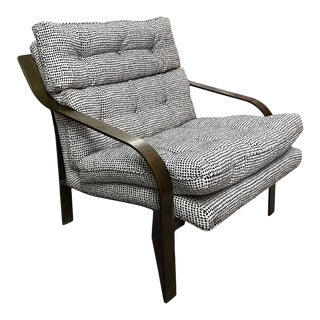 Mid-20th Century Milo Baughman Bronze-Finish and Upholstered Chair For Sale