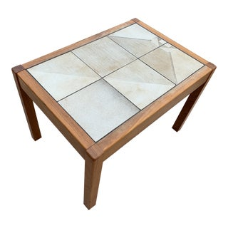 Mid Century Modern Teak & Tile Inset Accent Table For Sale