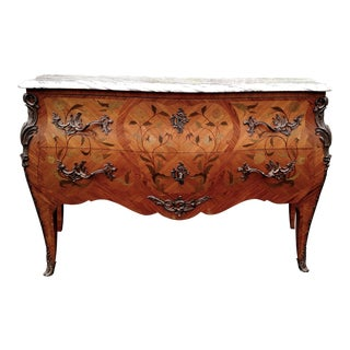 Antique 19th C French Inlaid Bronze Marble Top Commode Chest Dresser Server For Sale