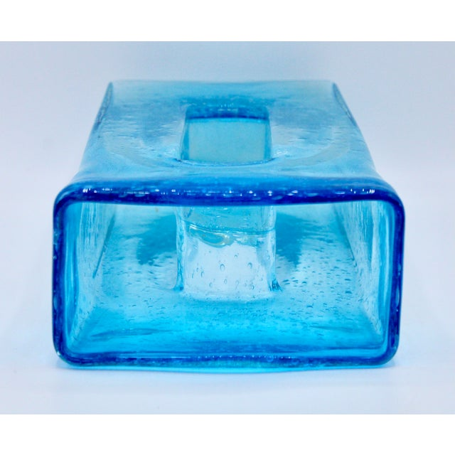 Large Mid Century Modern Aqua Blue Rectangular Glass Vase For Sale - Image 12 of 13