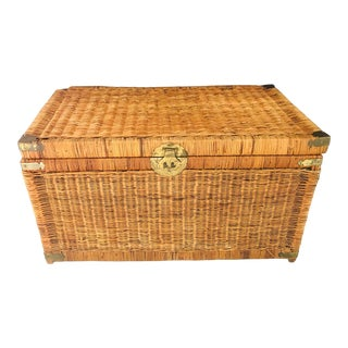 Asian Chinoiserie Trunk With Brass Hardware For Sale
