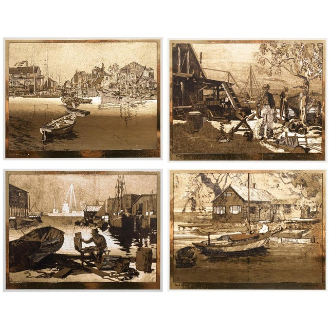 A stunning set of 4 vintage gold-etch prints by Lionel Barrymore, including pieces San Pedro, Point Magu, Purdy's Basin...