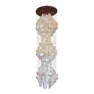 1970s Verner Panton Capiz Shell Chandelier For Sale