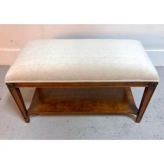 Vintage Restored Upholstered Bench in Mahogany Preview