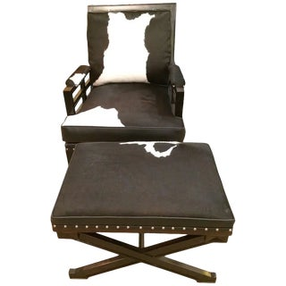 Black and White Leather and Cowhide Club Chair & Ottoman For Sale