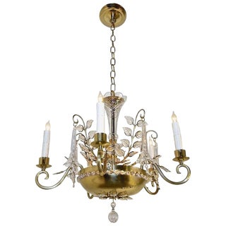 1960s French Brass and Crystal Leaf Chandelier For Sale