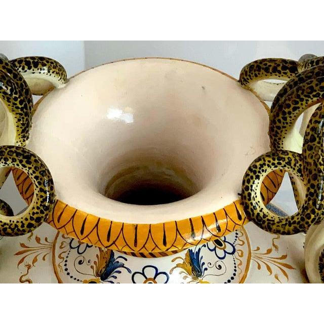Stunning Ginori Majolica Allegorical Serpent Handled Vase For Sale - Image 12 of 13