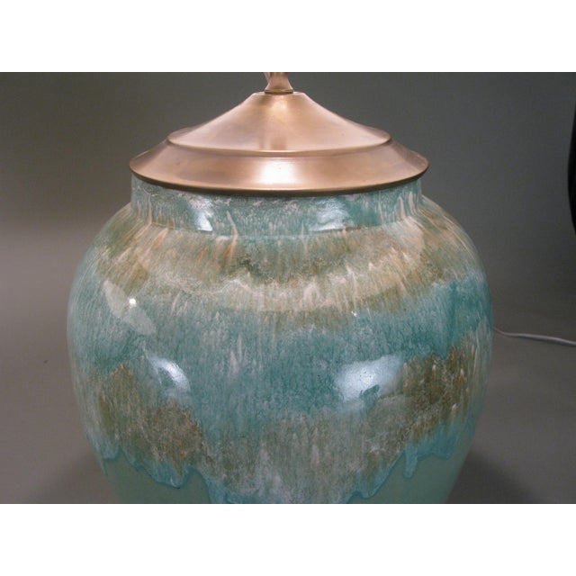 1960s Large 1960s Glazed Ceramic Lamps - a Pair For Sale - Image 5 of 7