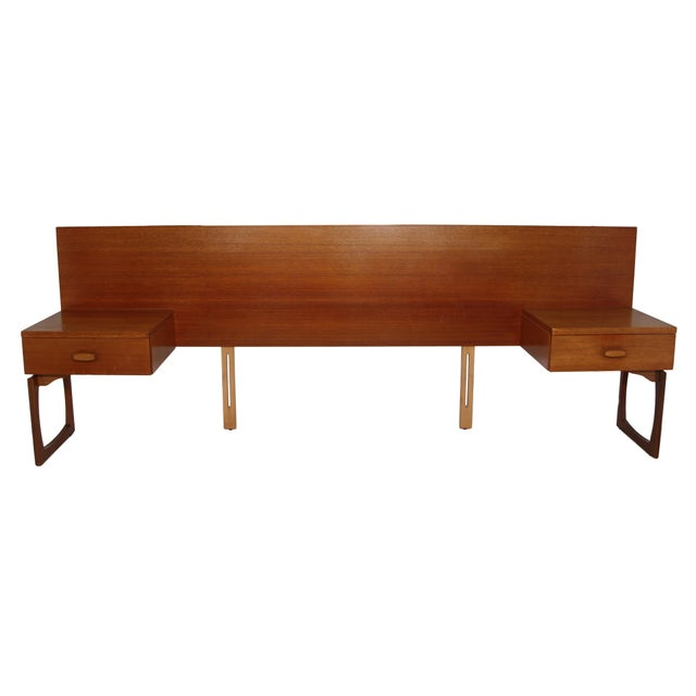 This is a beautiful Danish Modern teak headboard with nightstands. It fits a queen size mattress. Featuring a drawer in...