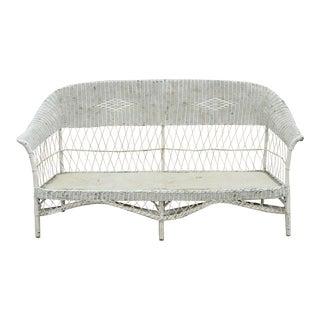 Antique Victorian Wicker Rattan Sunroom Patio Furniture Sofa Couch Furniture For Sale