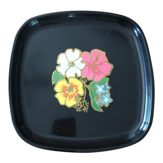 Vintage Couroc Hawaiian Flowers Tray For Sale