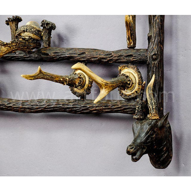 an antique wooden wall rack with impressive horn carvings and horn pieces as hooks. executed ca. 1900. the rack comes...