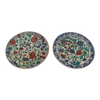 20th Century Folk Art IKaros Hand Painted Carnations & Tulips Decorative Plates - a Pair For Sale