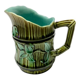 1920s French Majolica Bamboo Pitcher For Sale