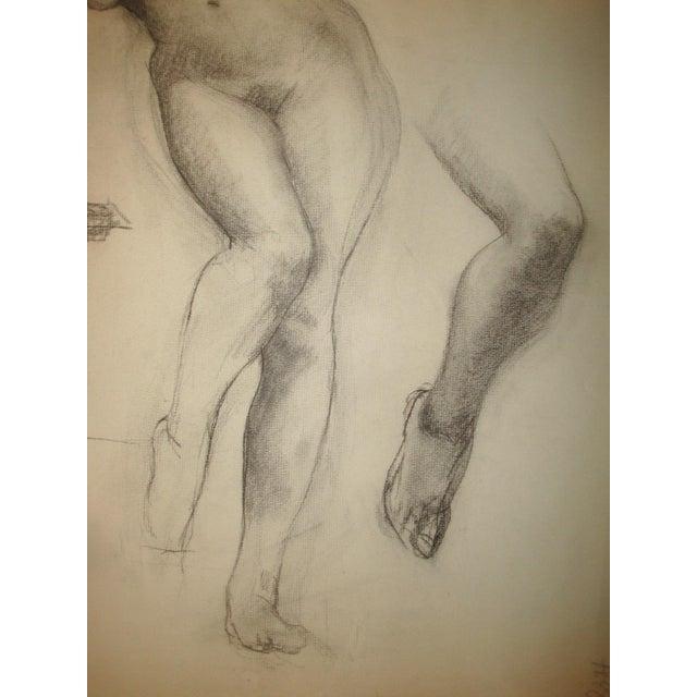 Illustration 1910-20's Nude Female Charcoal Sketch Studio Portrait For Sale - Image 3 of 8
