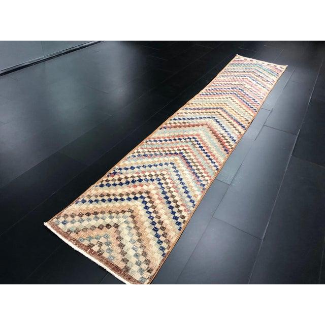 Vintage Geometric Design Turkish Anatolian Wool Runner For Sale - Image 4 of 11