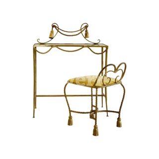 Italian Gilt Iron Tassel + Rope Motif Vanity With Stool For Sale