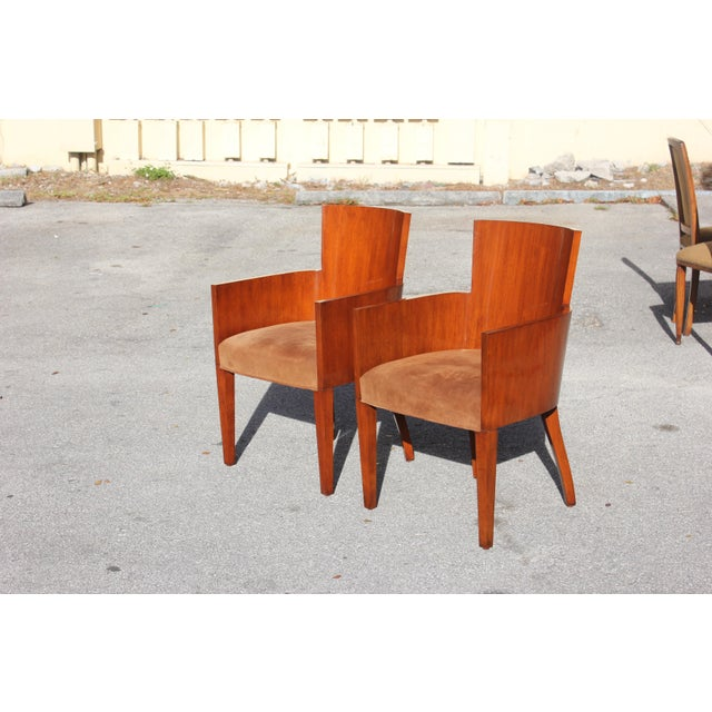 Brown Pair of Solid Mahogany Ralph Lauren Modern Hollywood Armchairs . For Sale - Image 8 of 13