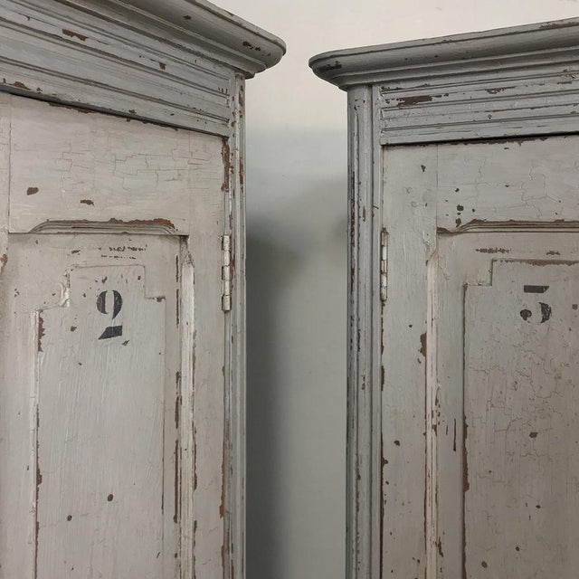 Pair Antique Painted Wooden Locker Cabinets For Sale - Image 12 of 13