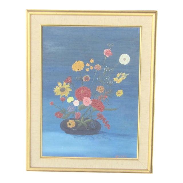 Vintage Signed Primitive Floral Oil Painting For Sale