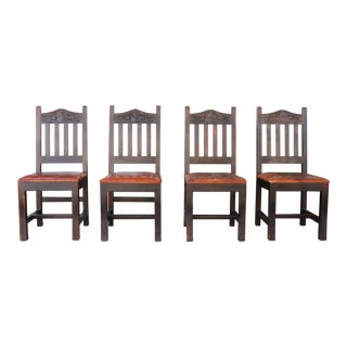1940s Vintage Rustic Rustic Leather Seat Chairs- Set of 4 For Sale