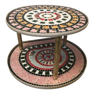 1960s Mid Century Mosaic Tile Tiered Lazy Susan Trays For Sale