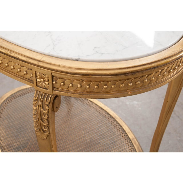 French 19th Louis XVI Style Oval Giltwood Occasional Table For Sale - Image 10 of 13