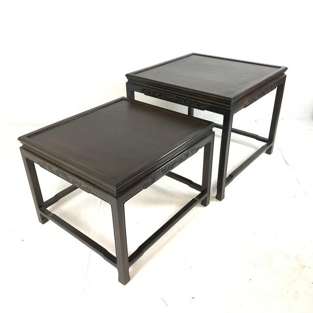 Pair of Mario Buatta for Widdicomb Asian Chinoiserie Ebonized Nesting Tables For Sale - Image 11 of 13