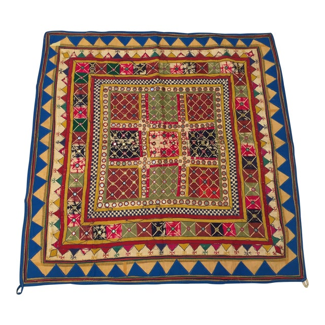 Late 19th Century Embroidered Ceremonial Chakla Cloth Textile For Sale