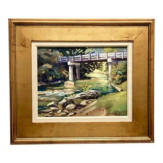 Landscape Painting of Bridge Over Stream For Sale
