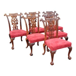 1980s Vintage Heavily Carved Mahogany Chippendale Style Dining Room Side Chairs- Set of 6 For Sale
