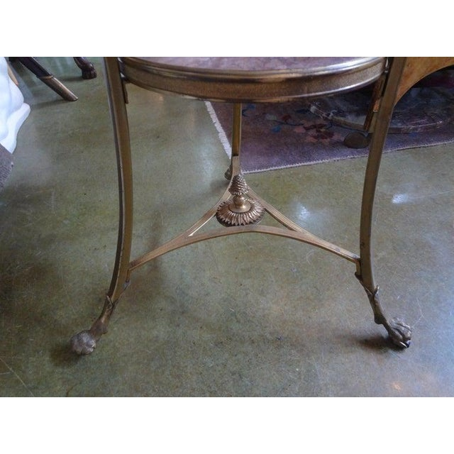 French Louis XVI Style Two Tier Bronze Dore and Marble Gueridon For Sale In Houston - Image 6 of 13
