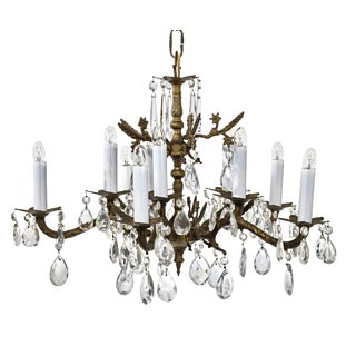 20th Century English Traditional Five Arm Ten Light Brass and Crystal Chandelier