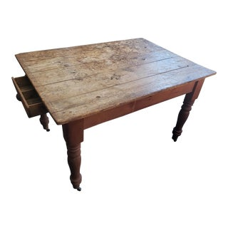 Rustic Wood Farm Desk on Wheels For Sale