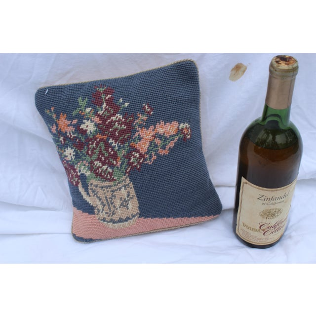 Farmhouse 20th Century Cottage Blue and Pink Wool Needle Point Pillow For Sale - Image 3 of 6