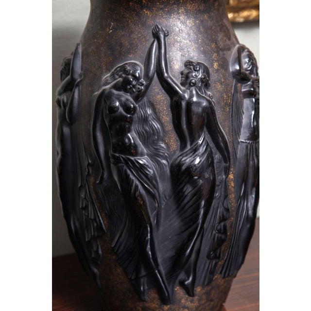 Black Art Deco Vase by Sabino For Sale - Image 8 of 9