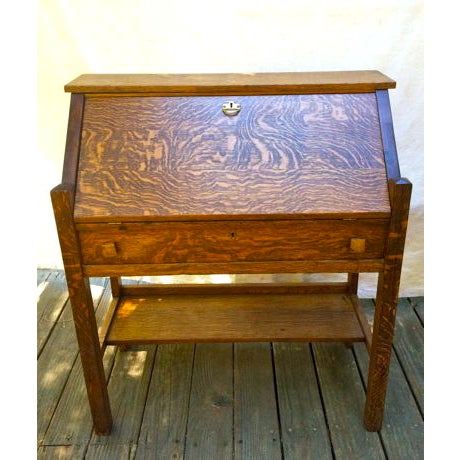 Gorgeous antique mission style desk. Quarter sawn technique used to make  for wood that doesn - Antique Quarter Sawn Mission Style Desk Chairish