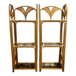 1970s Mid Century Hollywood Regency Rattan and Glass Etageres - a Pair For Sale