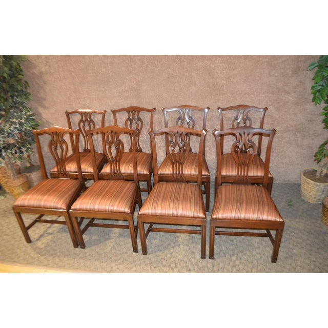 Vintage Ardley Hall Mahogany Chippendale Style Chairs - Set of 8 For Sale - Image 4 of 13